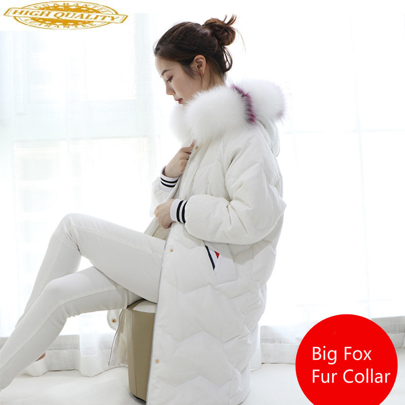 White Duck Down Jacket Women For Winter 2019 Fox Big Fur Collar Black Long Coat Parkas Chaquetas Invierno Mujer KJ492