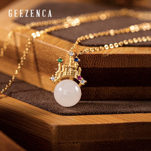 925 Sterling Silver Gold-plated Hetian White Jade Pendant Necklace Classical Elegant Simple Necklaces Fine Jewelry For Women kjjeaxcmy fine jewelry 925 sterling silver plated white gold ring pendant deep amethyst necklace set ladies two piece suit