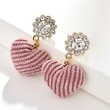 2020 heart-shaped earrings fashion crystal cute pink heart-shaped drop earrings for women girl jewelry artificial crystal floral hollowed heart drop earrings