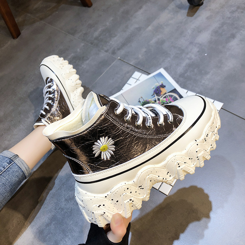 SWYIVY Embriodery Flower Platform Sneakers Women Vulcanized Shoes High Top 2020 Spring New Female Causal Shoes Chunky Sneakers