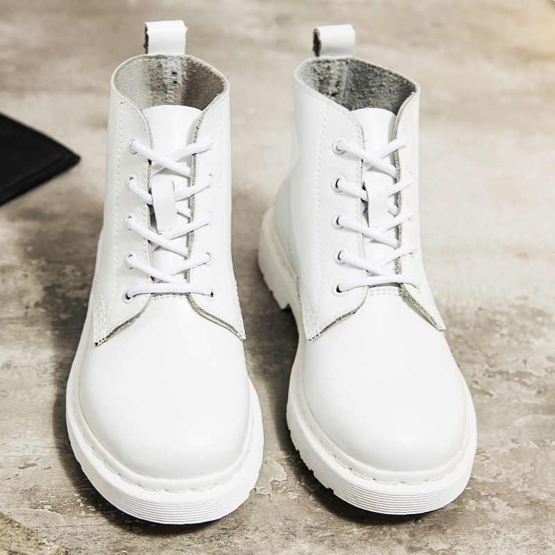 עור אמיתי נשים לבן קרסול מגפי אופנועני סתיו חורף נעלי אישה פאנק אופנוע מגפיים