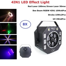 4IN1 LED Effect Light Strobe Beam Laser Lights UV Stage Lighting Effect For KTV Disco Light Laser Show System Cheap Projector freeshipping 30 pack led colony stage effect light led white strobe combined with red green laser rgbwa rotating derby effect