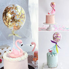 5 Inch Latex Balloons Cake Topper Transparent Confetti Balloon For Birthday Baby Shower Wedding Party Supplies Cake Decoration
