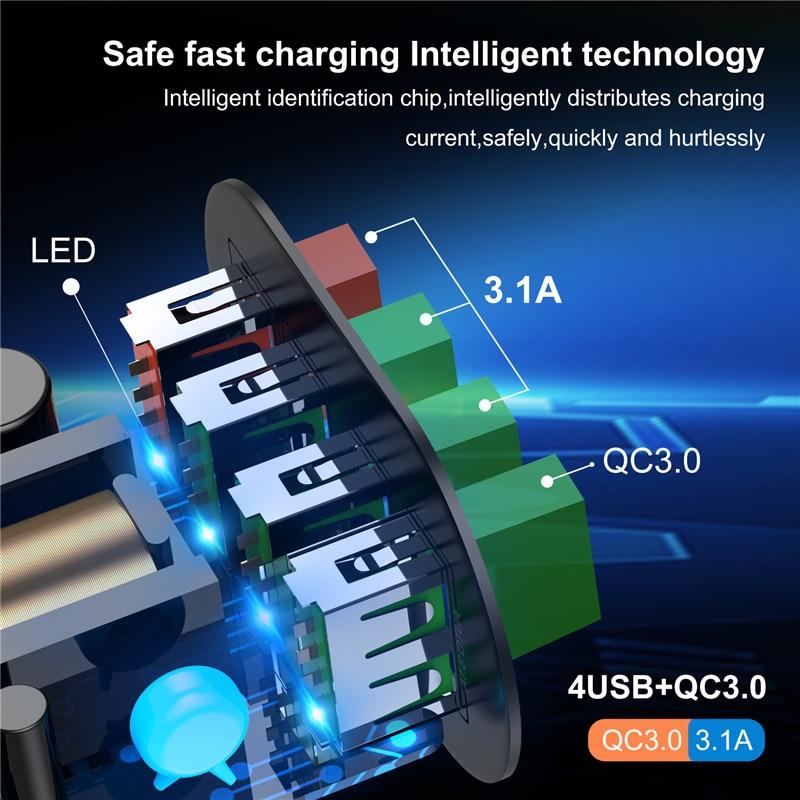 Uslion Eu/Us Plug Usb Charger 3A Quik Lading 3.0 Mobiele Telefoon Oplader Voor Iphone 11 Samsung Xiaomi 4 poort 48W Snel Muur Laders 4