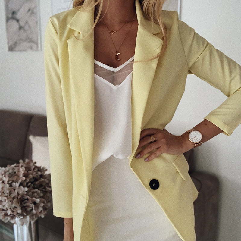 Solid Notched Women's Blazer Plus Size 5XL Long Sleeve Office Ladies Coat 2020 Spring Autumn Thin Fashion Ladies Blazer Tops