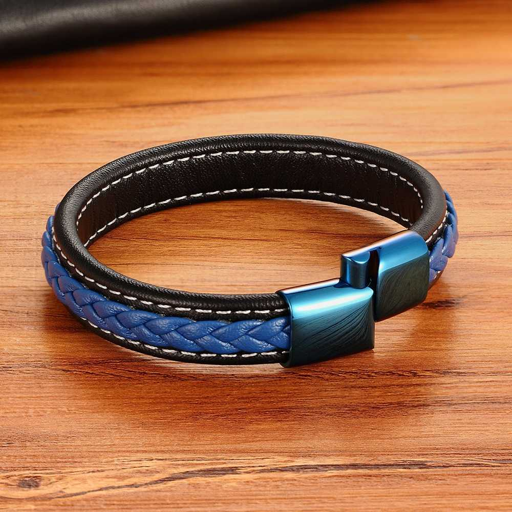 Classic Luxury With Blue Color Leather Combination Stitching Blue Color Simple Buckle For Stainless Steel Leather Men's Bracelet
