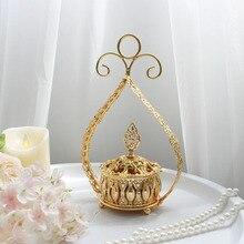 Большая Гальваническая золотая металлическая ладана горелки портативный фарфоровый курильщик буддизм ладан держатель домашний Чайный домик Йога студия