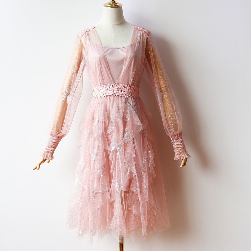2Pcs/set Pink Bridesmaid Dresses Elegant Long Sleeves Knee-Length Tulle Illusion Spandex Wedding Party Club Prom Sexy Vestido