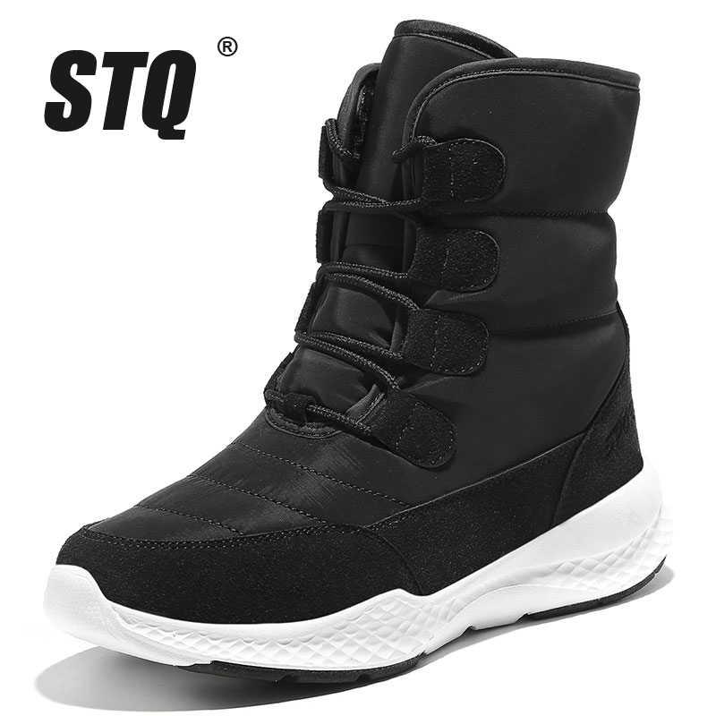 STQ kadın kış kar botları ayakkabı su geçirmez yarım çizmeler kadınlar için sıcak peluş İç kadınlar kış motosiklet Boots ayakkabı MX1918