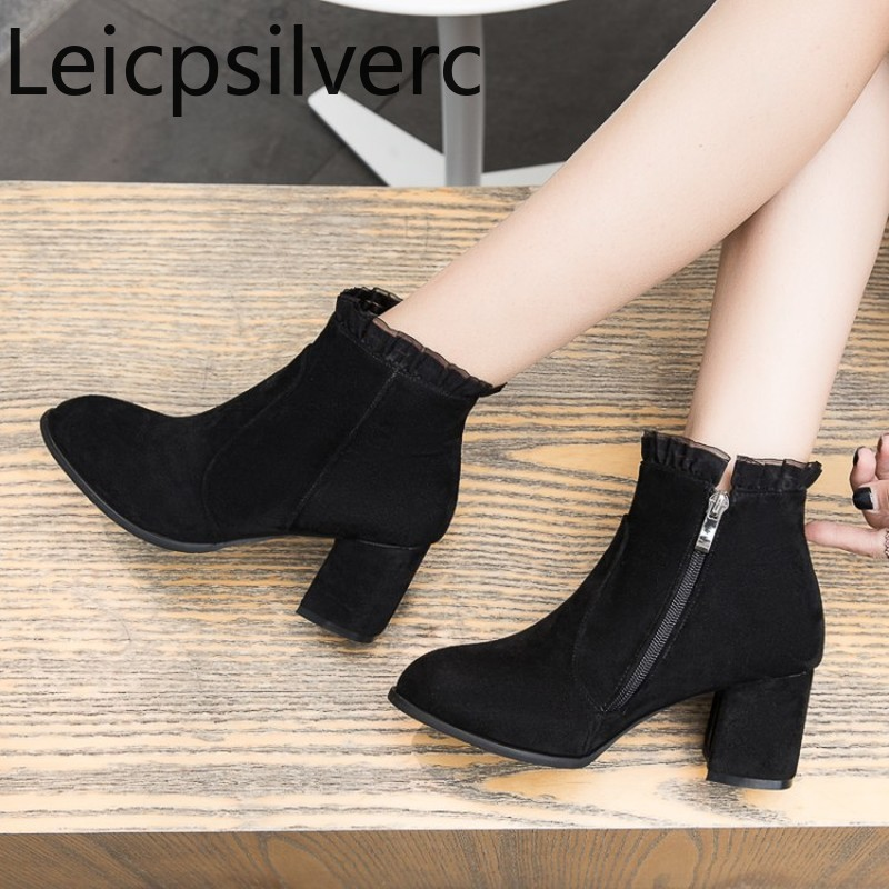 Women's Shoes Ankle-Boots Mid-Heel Heel-Height Winter Plus-Size Fashion New The Lace