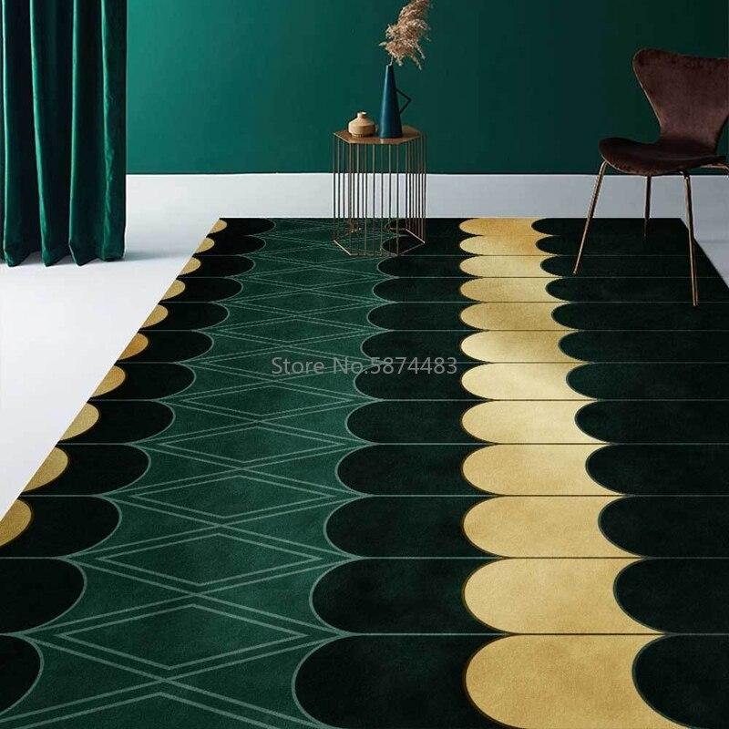 tapis de sol antiderapant geometrique vert emeraude ligne doree mosaique de marbre blanc pour salon chambre a coucher canape