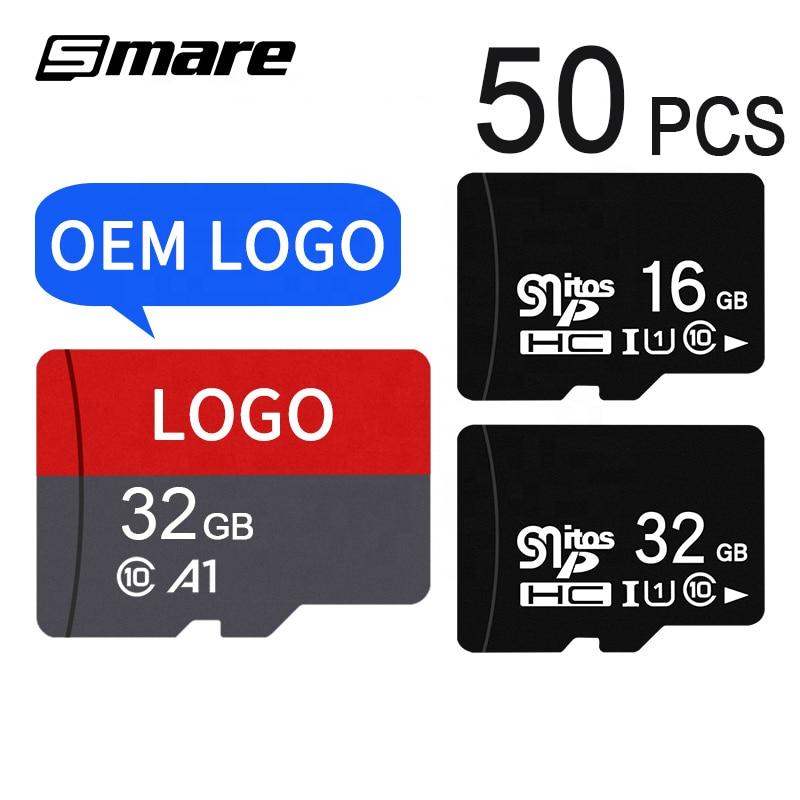 Custom Logo Wholesale Real Capacity Memory Card 50PCS 32GB 16GB 8GB 64GB 128GB 256GB Micro SD Card Class10 U1 U3 SD Original Mem 1