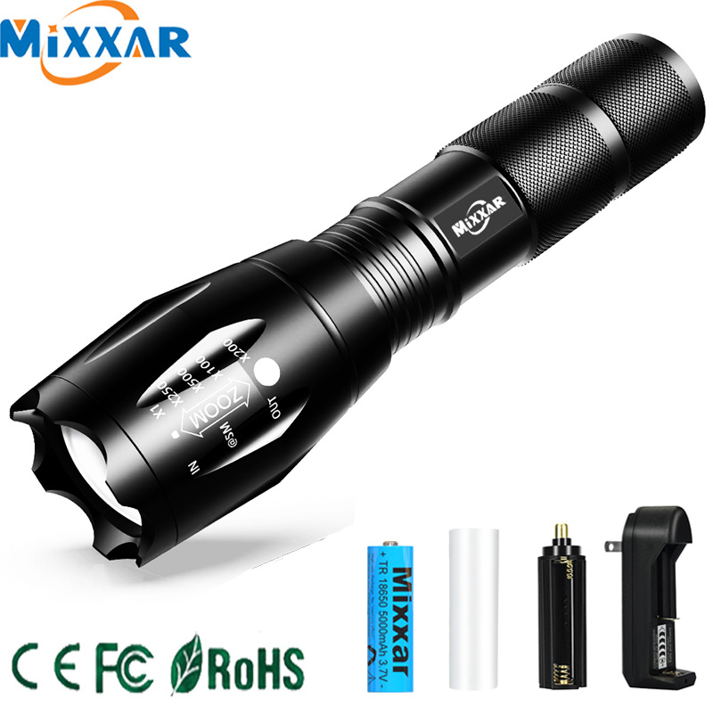 ZK20 Dropshipping LED Rechargeable Flashlight T6 L2 V6 Bright Torch Lamp 18650 Battery Outdoor Bicycle Powerful Light Lanterna