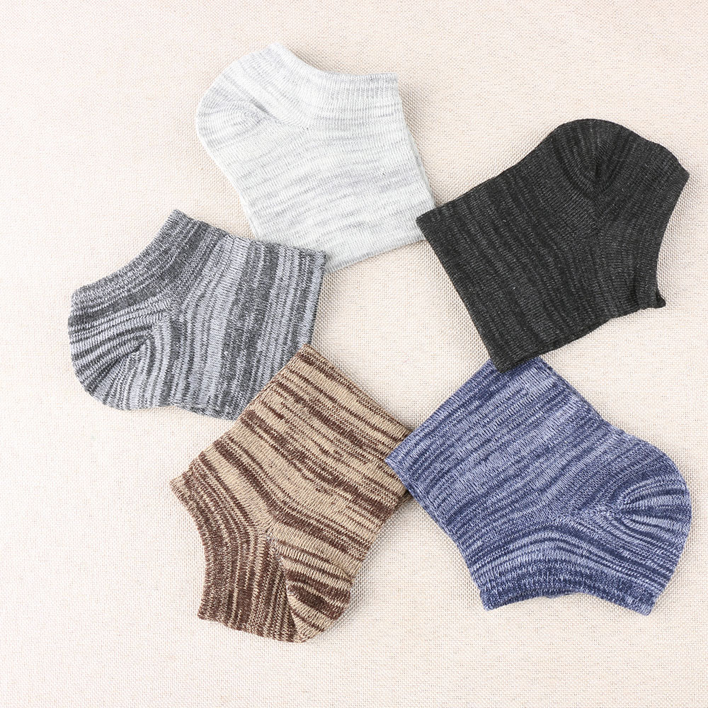 PLOFR-B8 Mens Casual Striped Socks Breathable Spring B Low Cut Ankle Socks