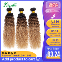 Mongolian Kinky Curly Human Hair Bundles Ombre Hair Extension 1b/30/27 Dark Root Blonde Non Remy Human Hair Weave 3/4 Bundles