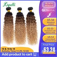 Mongolian Kinky Curly Human Hair Bundles Ombre Hair Extension 1b/30/27 Dark Root Blonde Non Remy Human Hair Weave 3/4 Bundles