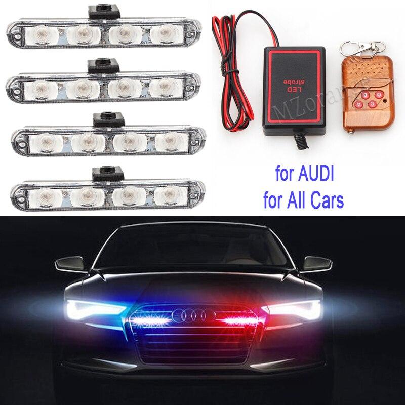 Led Police Lights 4x4 Led Strobe Lights On A Car Wireless Remote Fso Auto Flash In Car Police Light Strobe Light Straboscope