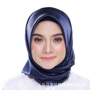 Image 2 - Мусульманский шелковый шарф 90*90 см, хиджаб, Женский мусульманский платок, чистая шаль, платок для головы, женский шарф, квадратный