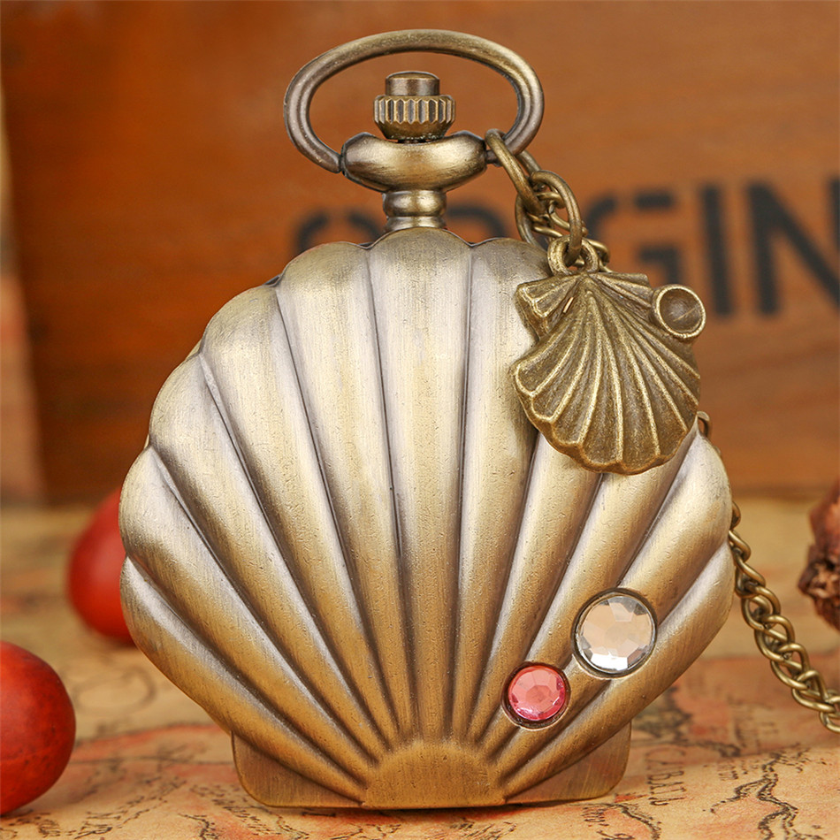 Pearl Shell Shape Necklace Pendant Quartz Pocket Watch Vintage Bronze Fob Chain Charm Pocket Clock Gifts Women Girl