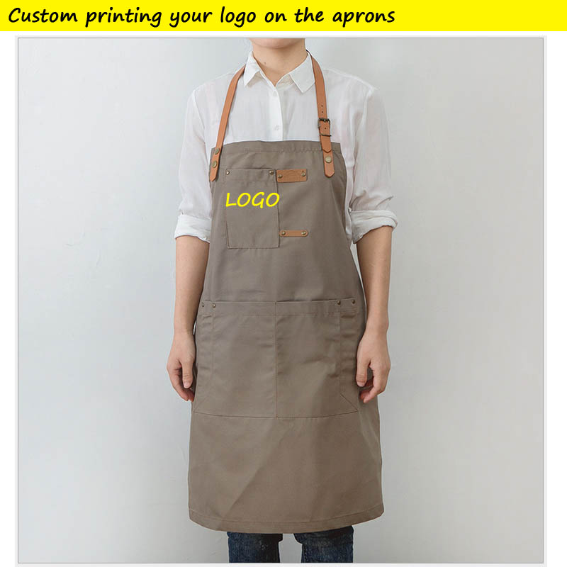 Denim Kitchen Cooking Apron Custom Printing Your NAME Large Pockets Aprons For Men And Women Homewear Barista Custom LOGO