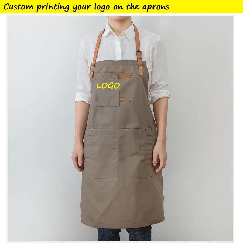 Denim Kitchen Cooking Apron Custom Printing Your NAME Large Pockets Aprons For Men And Women Homewear Barista Custom LOGO