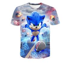 Letnie koszulki chłopięce Sonik koszulki dziewczęce koszulki chłopięce ubrania chłopięce bluzy chłopięce i dziewczęce tanie tanio Poliester spandex Moda Cartoon REGULAR Dzieci O-neck Topy Tees Krótki Pasuje prawda na wymiar weź swój normalny rozmiar