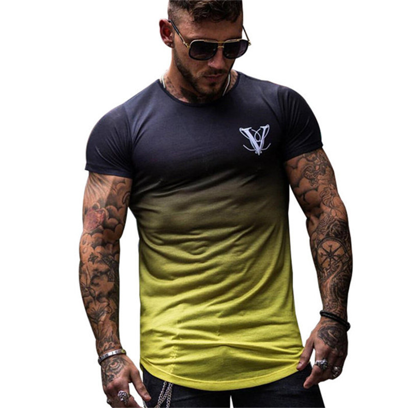 2020 New Brand Clothing Gyms Tight Cotton T-shirt Mens Fitness T-shirt Homme Gyms T Shirt Men Fitness Summer Tees Tops
