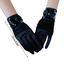 Vintage Satin Short Wedding Gloves Rhinestone Bowknot 1920s Flapper Party Mitten