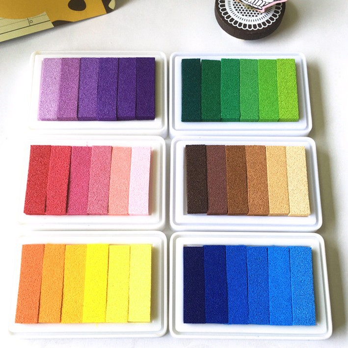 9.5x6.3CM 6 Colors Ink Pad Colorful Inkpad Yellow Red Blue Green Brown Purple