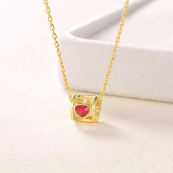 18k Gold Plated Jewelry Red Crystal Necklace Female 925 Sterling Silver Fashion Jewelery Necklace Friends Jewellery for Women 2