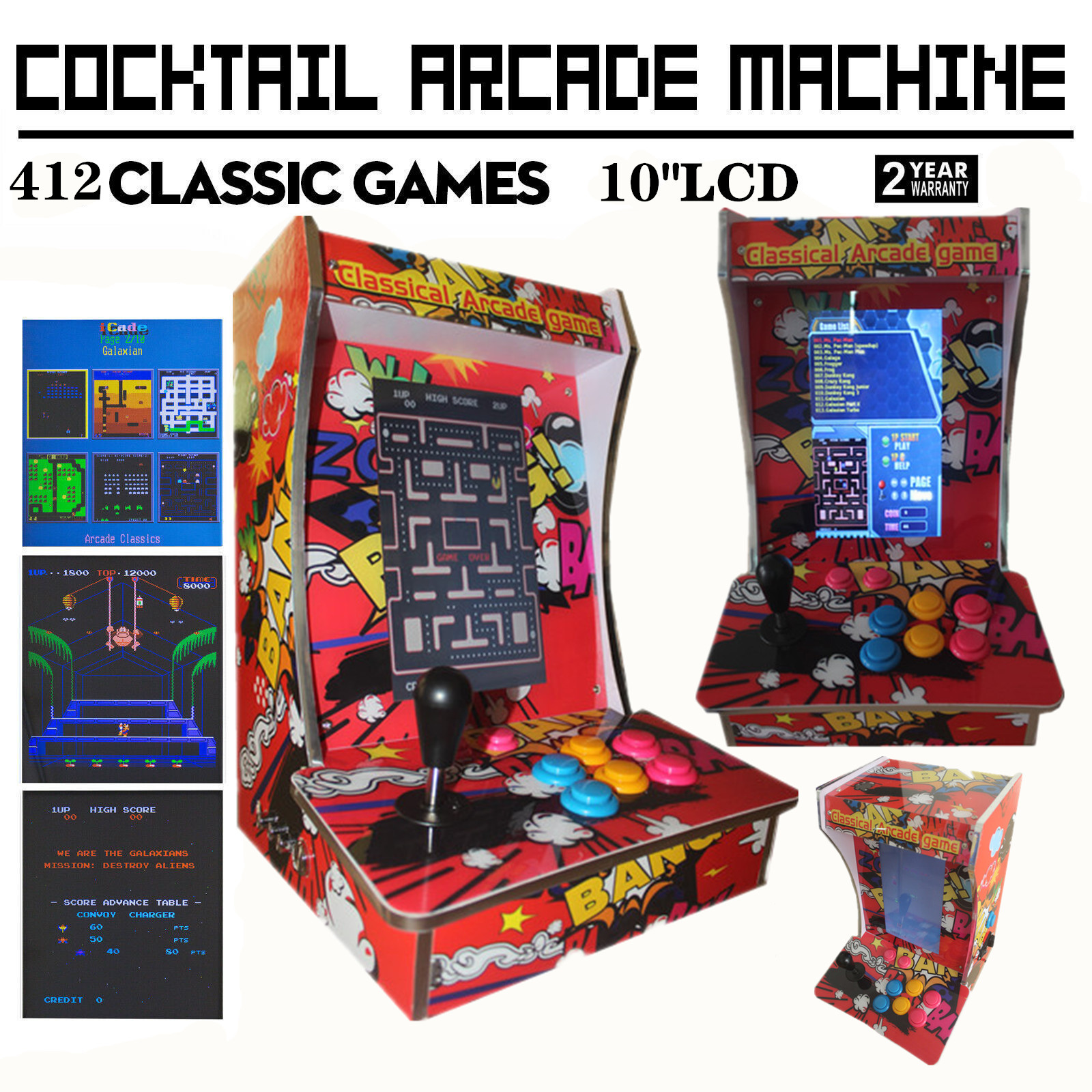 Ms. Pac-Man Upright Bartop/Tabletop Cocktail Arcade Machine W/ 412 Classic Games (10.4 Inch LCD Monitor)