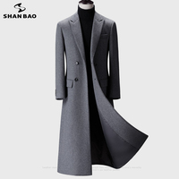 2020 winter over the knee long men\'s fashion slim wool coat luxury high quality business gentleman youth thick warm wool coat