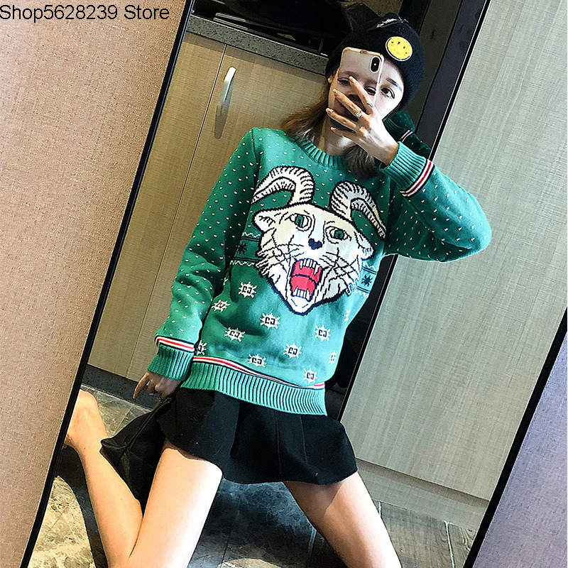 19 European Goods Aries Knitting Shirt Loose Green White Christmas Couple Money Knitting Sweater Men And Women