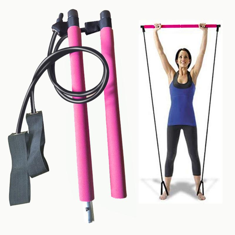 Portable 2 Foot Loops Lightweight Trainer Pilates Bar Stick With Resistance Band For Gym Home Fitness Sports Body Workout