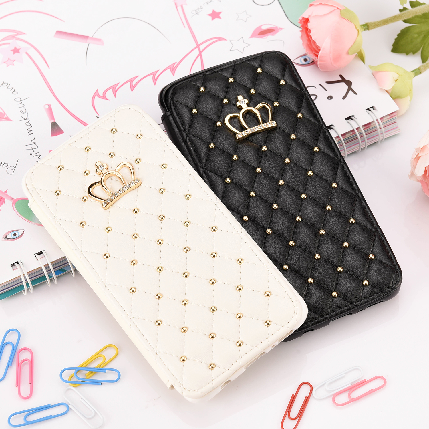 Crown For iPhone 11 12 Pro 6 6S 7 8 Plus X XR XS Max SE Case Wallet Leather Flip Stand Fashion Cases Cover Mobile Phone Bag
