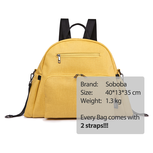 Stylish Multi-function Mother Diaper Bag Yellow PU Waterproof Stroller Bag with 2 Straps Large Capacity Fashion Maternity Bags | Happy Baby Mama