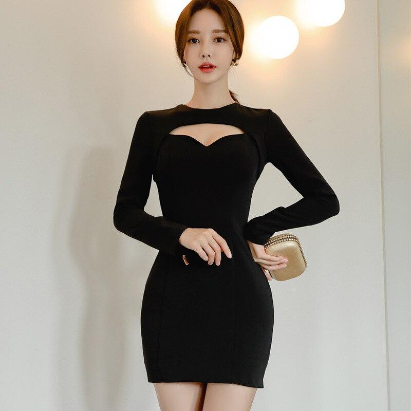 Сексуальное женское мини-платье с длинным рукавом размера плюс, облегающее черное платье, женское однотонное хлопковое зимнее платье 2019