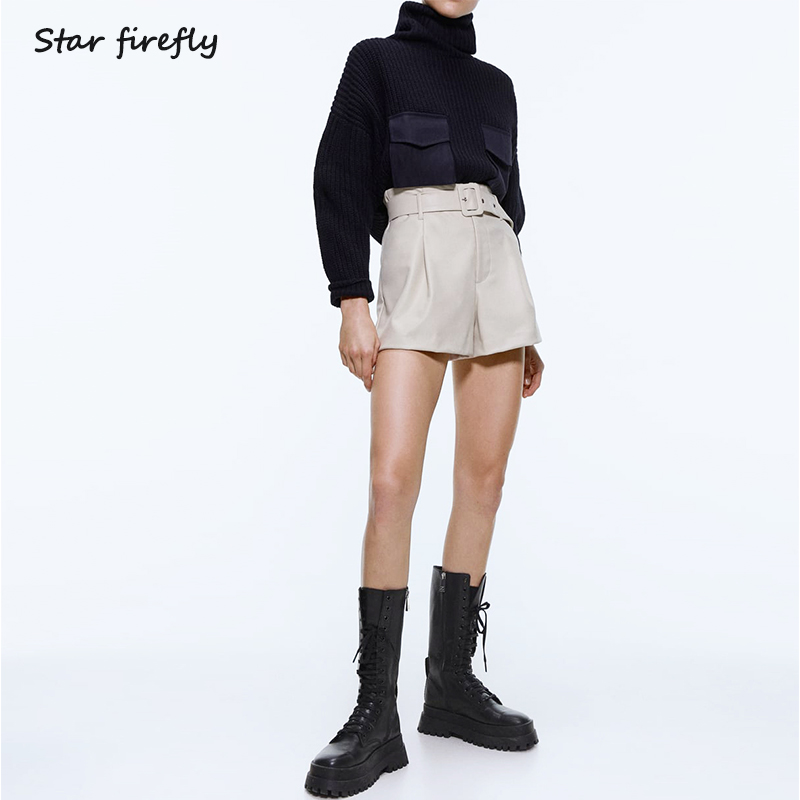 Star Firefly High Streetwear Slim Joker High Waist Solid Za Shorts Women 2019 With Belt PU Faux Leather Shorts Women