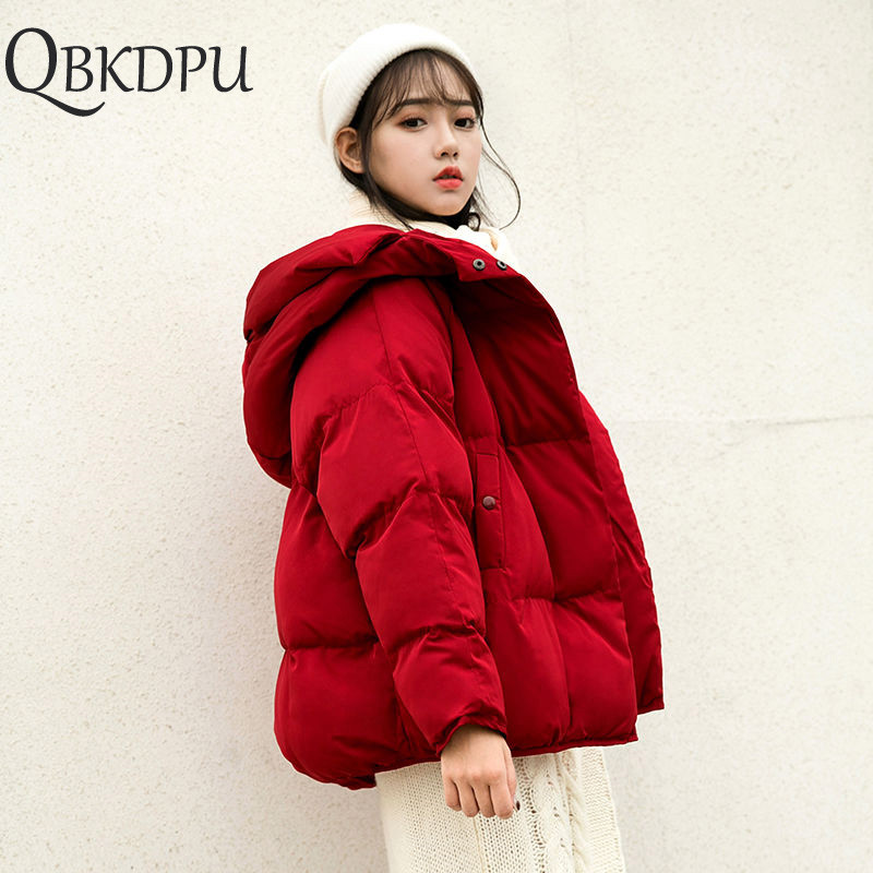 Women Plus Size Short Loose Parkas Casual Warm Winter Jacket Coat Red Cotton-padded Hooded Outerwear Autumn Thicken Clothing