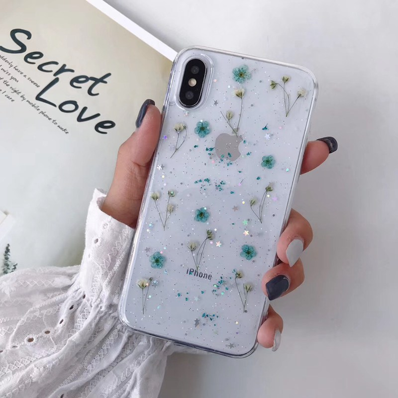Real Flowers Dried Flowers Pressed Phone Case For iPhone 12 11 Pro Max X XR XS Max 6 S 7 8 plus SE Case Soft Clear Floral Cover