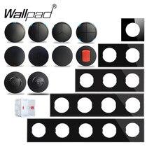 Wallpad L6 Schwarz Glas Kristall 1 2 3 4 Gang Wand Schalter Motion Körper Sensor Schritt Licht DIY Freie Kombination