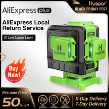 Huepar 12 Lines 3D Cross Line Laser Level Multifunction Green Beam Line With Remote Control & Li-ion battery For Tiles Floor