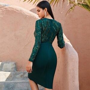 Image 4 - חורף סתיו נשים שחור תחרה נצנצים חלול החוצה ארוך שרוול ערב אלגנטי שמלות אביב מסיבת הלילה סקסי תחבושת Vestidos
