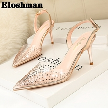 European and American Style Simple Tip in Her Heels Transparent Rhinestone Fashion Sandals Fine Hollow Shoes