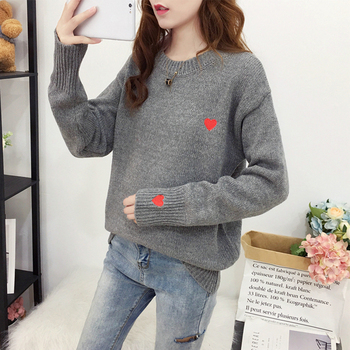 Ailegogo Autumn Winter Knitted Heart Printed Women Pullovers Sweater Casual Woolen Warm O-neck Long Sleeve Female Sweater 1