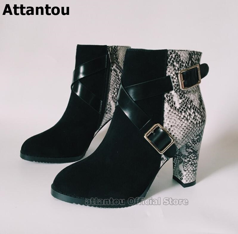Doubel Belt Buckle Gladiator Women Ankle Boots Snake Skin Pattern Mixed Color Chunky High Heels Shoes Woman Straps Bota Feminina