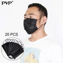 20Pcs/10Pcs פה מסכה חד פעמי שחור כותנה פה פנים מסכות חומרי Materialnon ארוגים מסכה נגד אבק מסכת 3 מסנן הופעל רכב