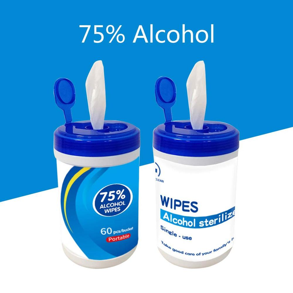 75% Alcohol Disinfection Wipes Kill 99.99% Bacteria Against Virus Portable Cleaning Wipes 60 Pieces Sheet Barrel
