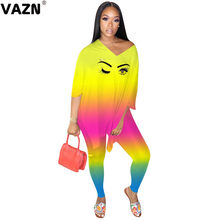VAZN New Summer Design 2020 Cartoon Print Tracksuit Baggy Full Sleeve Full Pant V-Neck 2 Piece Set Casual Street Sets(China)