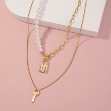 2021 Fashion Choker Necklace Love Lock and Key Two Layers Round Necklaces Gold Color Necklace Choker Jewelry for Women Gift